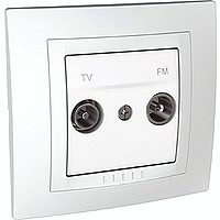 Complete TV/FM Socket for parallel distribution systems, White