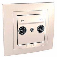 Complete TV/FM Socket for parallel distribution systems, Ivory