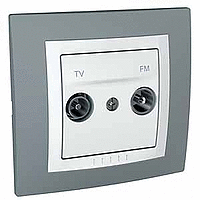 Complete TV/FM Socket for parallel distribution systems, White/Technical grey