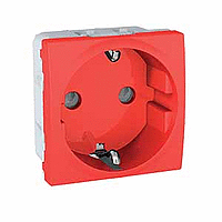 SCHUKO® Socket-outlet 10/16 A, 2P+E, shuttered, Red
