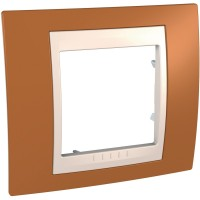 Cover Frame Unica Plus, Orange/Ivory, 1 gang