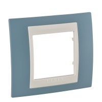 Cover Frame Unica Plus, Maganese blue/Ivory, 1 gang
