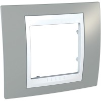 Cover Frame Unica Plus, Mist grey/White, 1 gang
