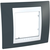 Cover Frame Unica Plus, Slate grey/White, 1 gang