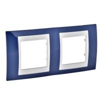 Cover Frame Unica Plus, Indigo blue/Ivory, 2 gangs