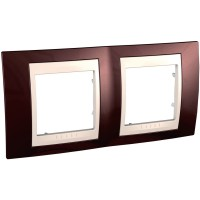 Cover Frame Unica Plus, Terracotta/Ivory, 2 gangs