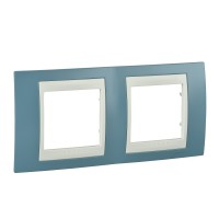 Cover Frame Unica Plus, Maganese blue/Ivory, 2 gangs