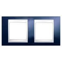Cover Frame Unica Plus, Indigo blue/White, 2 gangs