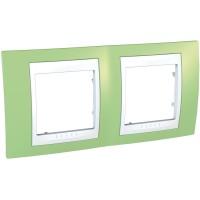 Cover Frame Unica Plus, Apple green/White, 2 gangs