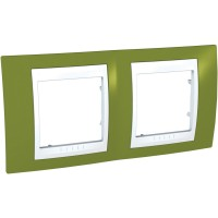 Cover Frame Unica Plus, Pistachio/White, 2 gangs