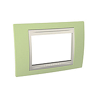 Italian Cover Frame Unica Plus IT, Apple green/Ivory, 3 modules