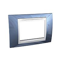 Italian Cover Frame Unica Plus IT, Glacier blue/White, 3 modules