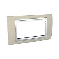 Italian Cover Frame Unica Plus IT, Sand yellow/White, 4 modules
