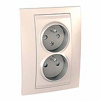 Complete Socket-outlet CZ, double, 2P+E, Ivory