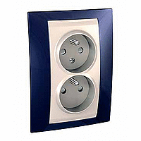 Complete Socket-outlet CZ, double, 2P+E, with shutters, Ivory/Indigo blue
