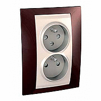 Complete Socket-outlet CZ, double, 2P+E, with shutters, Ivory/Terracotta