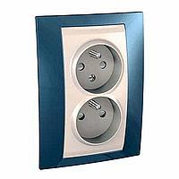 Complete Socket-outlet CZ, double, 2P+E, Ivory/Glacier blue