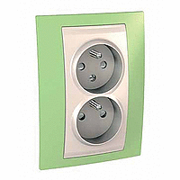 Complete Socket-outlet CZ, double, 2P+E, with shutters, Ivory/Apple green