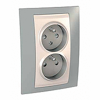 Complete Socket-outlet CZ, double, 2P+E, Ivory/Mist grey