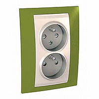 Complete Socket-outlet CZ, double, 2P+E, with shutters, Ivory/Pistachio