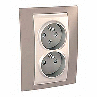Complete Socket-outlet CZ, double, 2P+E, with shutters, Ivory/Mink