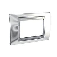 Italian Cover Frame Unica Top IT, Bright chrome/Aluminium, 3 modules
