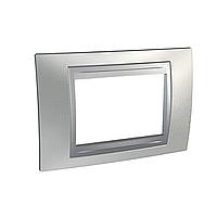 Italian Cover Frame Unica Top IT, Glossy chrome/Aluminium, 3 modules