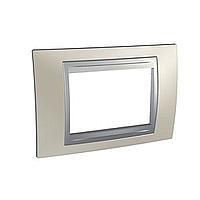 Italian Cover Frame Unica Top IT, Matt nickel/Aluminium, 3 modules