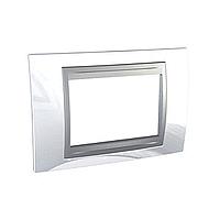 Italian Cover Frame Unica Top IT, Top White/Aluminium, 3 modules