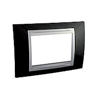 Italian Cover Frame Unica Top IT, Rhodium black/Aluminium, 3 modules