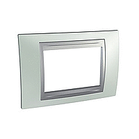 Italian Cover Frame Unica Top IT, Fluor green/Aluminium, 3 modules