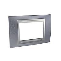 Italian Cover Frame Unica Top IT, Metal grey/Aluminium, 3 modules