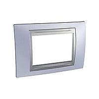 Italian Cover Frame Unica Top IT, Beryl blue/Aluminium, 3 modules
