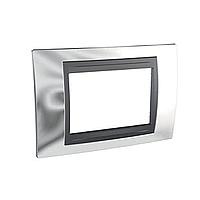 Italian Cover Frame Unica Top IT, Bright chrome/Graphite, 3 modules