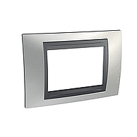 Italian Cover Frame Unica Top IT, Glossy chrome/Graphite, 3 modules