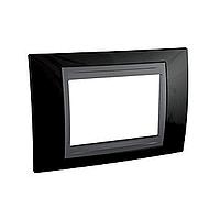 Italian Cover Frame Unica Top IT, Rhodium black/Graphite, 3 modules