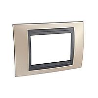 Italian Cover Frame Unica Top IT, Onyx cooper/Graphite, 3 modules