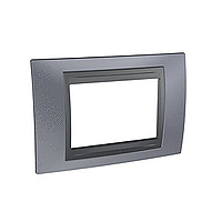Italian Cover Frame Unica Top IT, Metal grey/Graphite, 3 modules