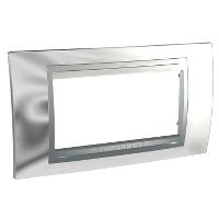 Italian Cover Frame Unica Top IT, Bright chrome/Aluminium, 4 modules
