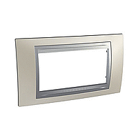 Italian Cover Frame Unica Top IT, Matt nickel/Aluminium, 4 modules