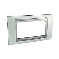 Italian Cover Frame Unica Top IT, Fluor green/Aluminium, 4 modules