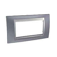 Italian Cover Frame Unica Top IT, Metal grey/Aluminium, 4 modules