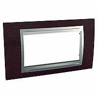 Italian Cover Frame Unica Top IT, Wengue/Aluminium, 4 modules