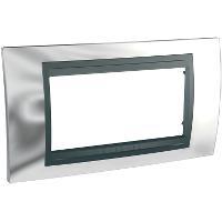 Italian Cover Frame Unica Top IT, Bright chrome/Graphite, 4 modules