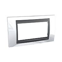 Italian Cover Frame Unica Top IT, Top White/Graphite, 4 modules