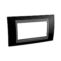 Italian Cover Frame Unica Top IT, Rhodium black/Graphite, 4 modules