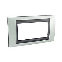 Italian Cover Frame Unica Top IT, Fluor green/Graphite, 4 modules