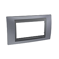Italian Cover Frame Unica Top IT, Metal grey/Graphite, 4 modules