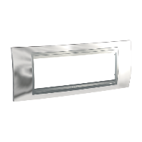 Italian Cover Frame Unica Top IT, Bright chrome/Aluminium, 6 modules