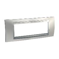 Italian Cover Frame Unica Top IT, Glossy chrome/Aluminium, 6 modules